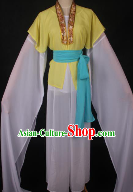 Traditional Chinese Shaoxing Opera Maidservants Yellow Dress Ancient Peking Opera Village Girl Costume for Women
