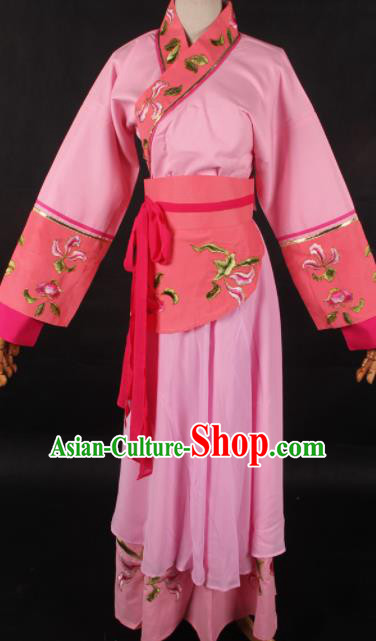Chinese Traditional Shaoxing Opera Maidservant Pink Dress Ancient Peking Opera Servant Girl Costume for Women