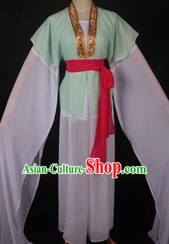 Traditional Chinese Shaoxing Opera Maidservants Light Green Dress Ancient Peking Opera Village Girl Costume for Women