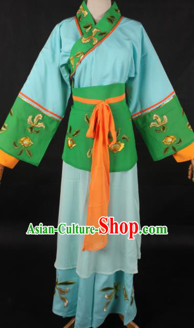 Chinese Traditional Shaoxing Opera Blue Dress Ancient Peking Opera Maidservant Costume for Women