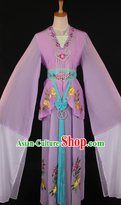 Chinese Traditional Shaoxing Opera A Dream in Red Mansions Purple Dress Ancient Peking Opera Maidservant Costume for Women
