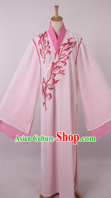 Traditional Chinese Shaoxing Opera Niche Liang Shanbo Pink Robe Ancient Gifted Scholar Costume for Men