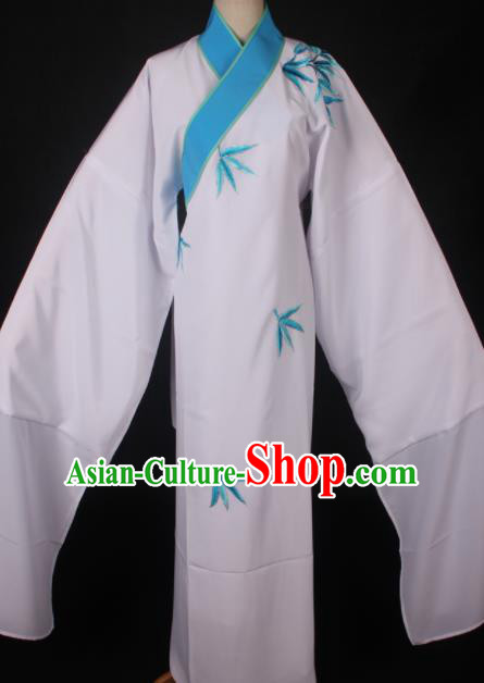 Traditional Chinese Shaoxing Opera Niche Embroidered White Robe Ancient Gifted Scholar Costume for Men