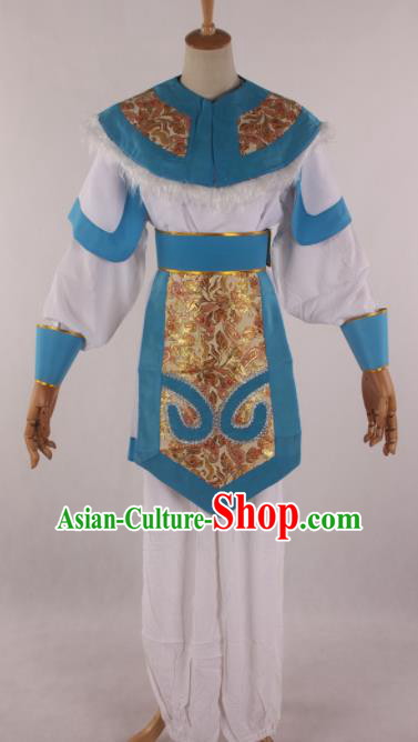 Traditional Chinese Shaoxing Opera Takefu Blue Clothing Ancient Imperial Bodyguard Soldier Costume for Men