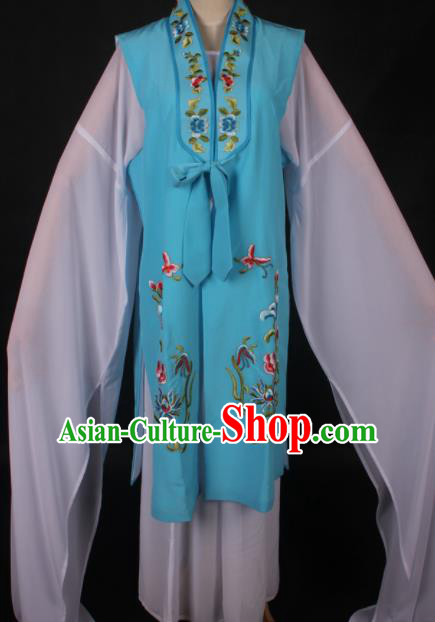 Traditional Chinese Shaoxing Opera Diva Blue Vest Ancient Peking Opera Costume for Women