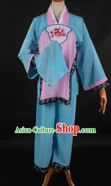 Traditional Chinese Shaoxing Opera Maidservants Blue Clothing Ancient Peking Opera Poor Lady Costume for Women