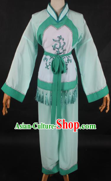 Traditional Chinese Shaoxing Opera Maidservants Green Clothing Ancient Peking Opera Poor Lady Costume for Women