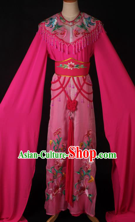 Traditional Chinese Shaoxing Opera Peri Princess Rosy Dress Ancient Peking Opera Diva Costume for Women