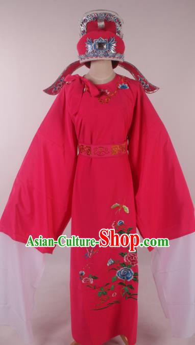 Traditional Chinese Shaoxing Opera Niche Embroidered Peony Rosy Robe Ancient Nobility Childe Costume for Men