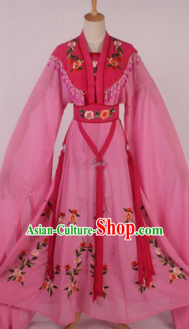 Chinese Traditional Shaoxing Opera Seven Fairies Rosy Dress Ancient Peking Opera Actress Costume for Women