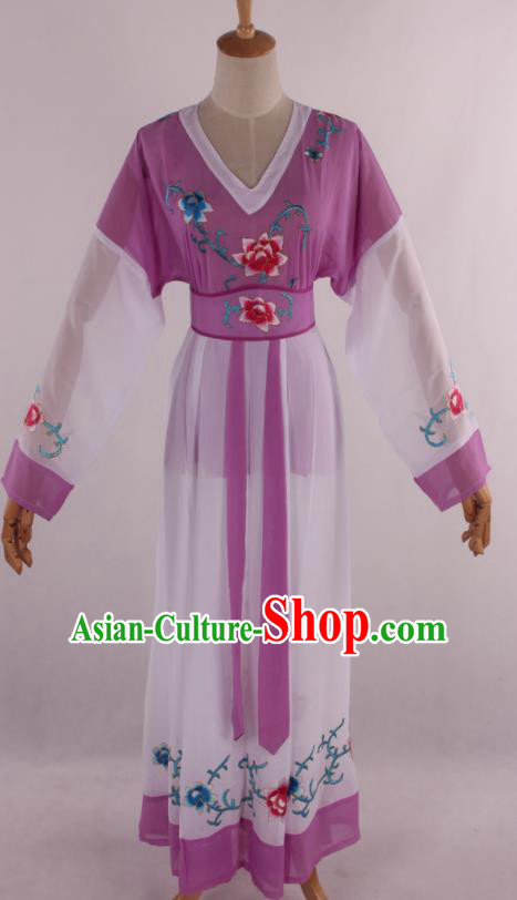 Chinese Traditional Shaoxing Opera Young Lady Purple Dress Ancient Peking Opera Maidservant Costume for Women