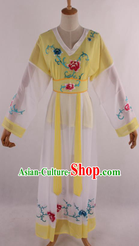 Chinese Traditional Shaoxing Opera Young Lady Yellow Dress Ancient Peking Opera Maidservant Costume for Women