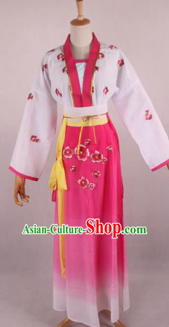 Chinese Beijing Opera Village Girl Rosy Dress Ancient Traditional Peking Opera Maidservant Costume for Women