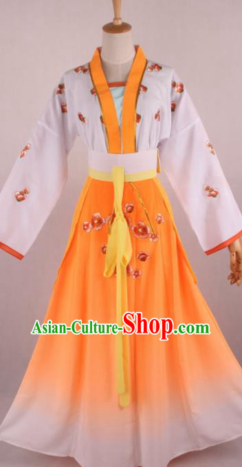Chinese Beijing Opera Village Girl Orange Dress Ancient Traditional Peking Opera Maidservant Costume for Women