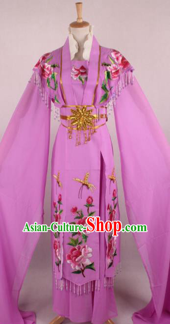 Professional Chinese Beijing Opera Nobility Lady Purple Dress Ancient Traditional Peking Opera Diva Costume for Women