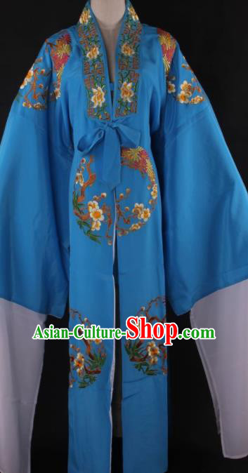 Traditional Chinese Shaoxing Opera Niche Gifted Scholar Blue Robe Ancient Childe Costume for Men