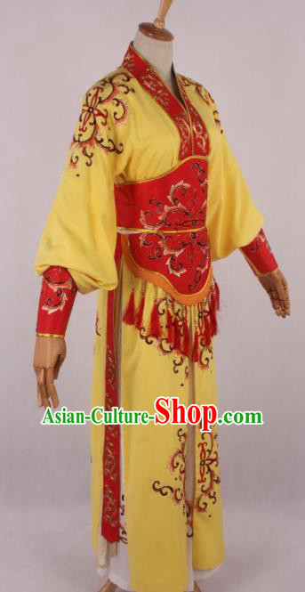Chinese Traditional Beijing Opera Actress Yellow Dress Ancient Peking Opera Female Warrior Costume for Women