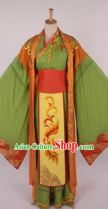 Chinese Traditional Beijing Opera Actress Green Dress Ancient Peking Opera Court Queen Costume for Women