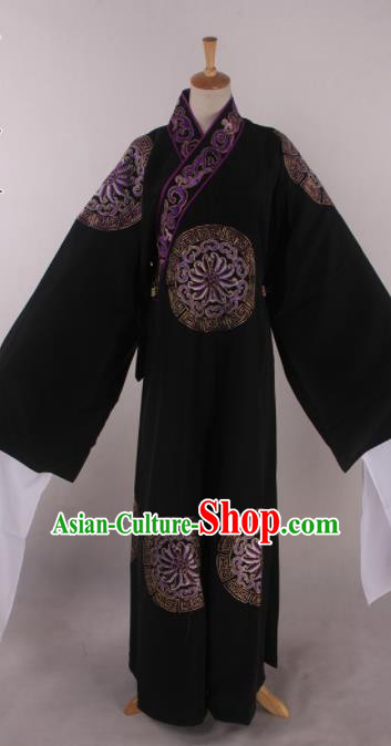 Traditional Chinese Shaoxing Opera Takefu Black Robe Ancient Imperial Bodyguard Costume for Men