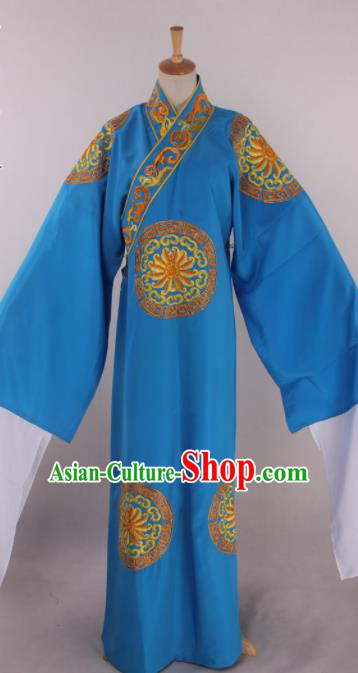 Traditional Chinese Shaoxing Opera Takefu Blue Robe Ancient Imperial Bodyguard Costume for Men