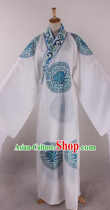 Traditional Chinese Shaoxing Opera Takefu White Robe Ancient Imperial Bodyguard Costume for Men