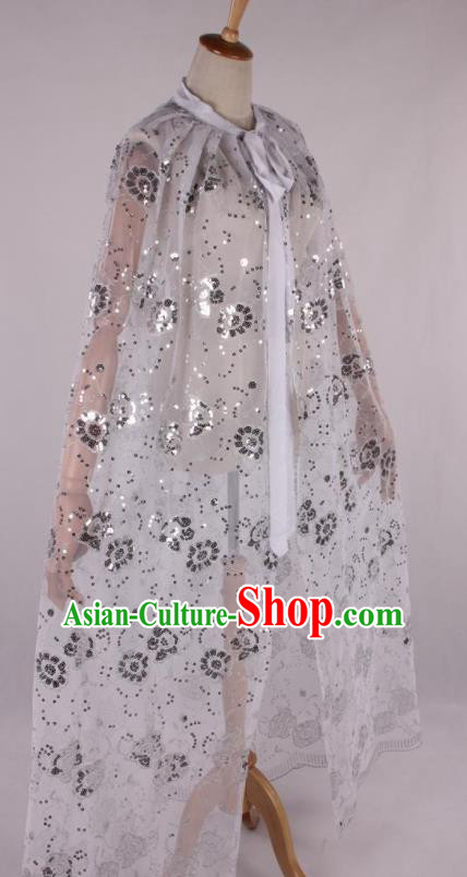 Professional Chinese Beijing Opera Swordswoman White Cloak Ancient Traditional Peking Opera Diva Costume for Women