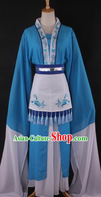 Professional Chinese Beijing Opera Village Girl Blue Dress Ancient Traditional Peking Opera Diva Costume for Women