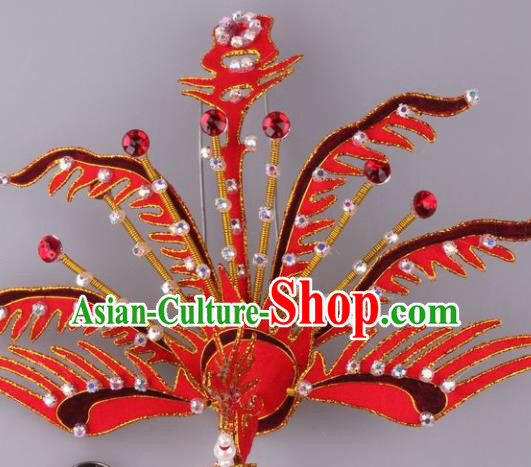 Traditional Chinese Shaoxing Opera Red Phoenix Hairpins Ancient Princess Hair Accessories Headwear for Women