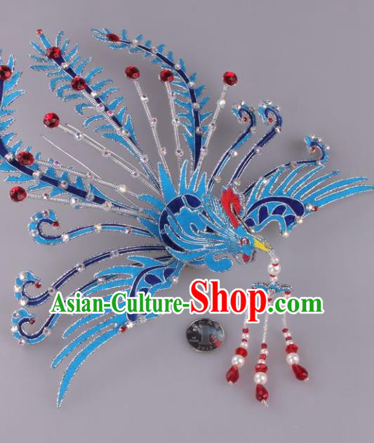 Traditional Chinese Shaoxing Opera Blue Phoenix Hairpins Ancient Princess Hair Accessories Headwear for Women