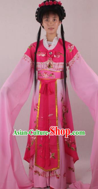 Professional Chinese Beijing Opera Rich Lady Rosy Dress Ancient Traditional Peking Opera Diva Costume for Women