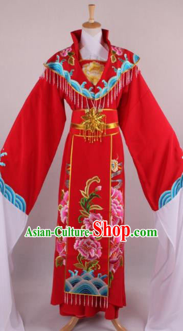 Professional Chinese Beijing Opera Diva Queen Red Dress Ancient Traditional Peking Opera Costume for Women