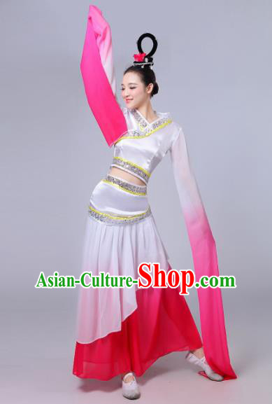 Traditional Chinese Classical Dance Cai Wei Costume Group Dance Water Sleeve Dance Rosy Dress for Women