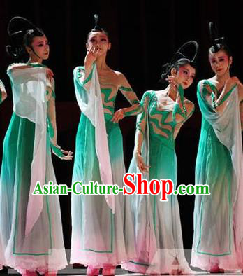 Traditional Chinese Classical Dance Fen Mo Costume Beautiful Dance Green Dress for Women