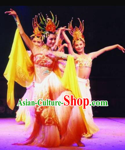 Traditional Chinese Classical Dance Guo Se Tian Xiang Costume Tang Dynasty Court Beautiful Dance Dress for Women