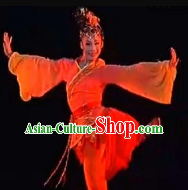 Traditional Chinese Classical Dance Han Feng Li Ying Costume Folk Dance Beautiful Dance Red Dress for Women