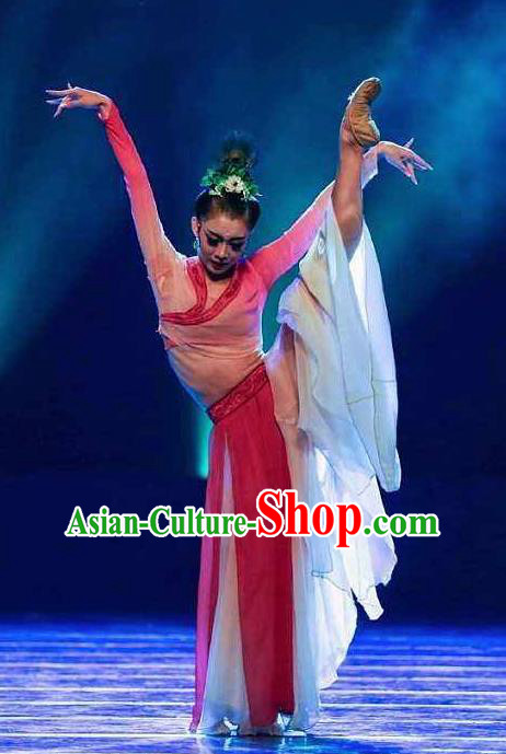 Traditional Chinese Classical Dance Kong Que Dong Nan Fei Costume Drama Stage Show Beautiful Dance Red Dress for Women