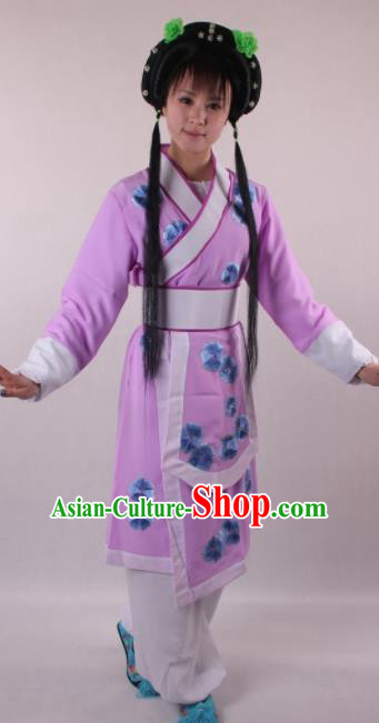 Professional Chinese Beijing Opera Servant Girl Purple Clothing Ancient Traditional Peking Opera Young Lady Costume for Women