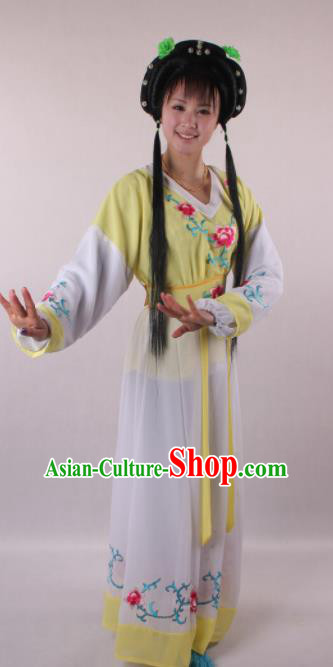 Professional Chinese Shaoxing Opera Servant Girl Light Yellow Dress Ancient Traditional Peking Opera Young Lady Costume for Women