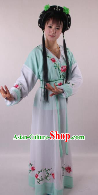 Professional Chinese Shaoxing Opera Servant Girl Green Dress Ancient Traditional Peking Opera Young Lady Costume for Women