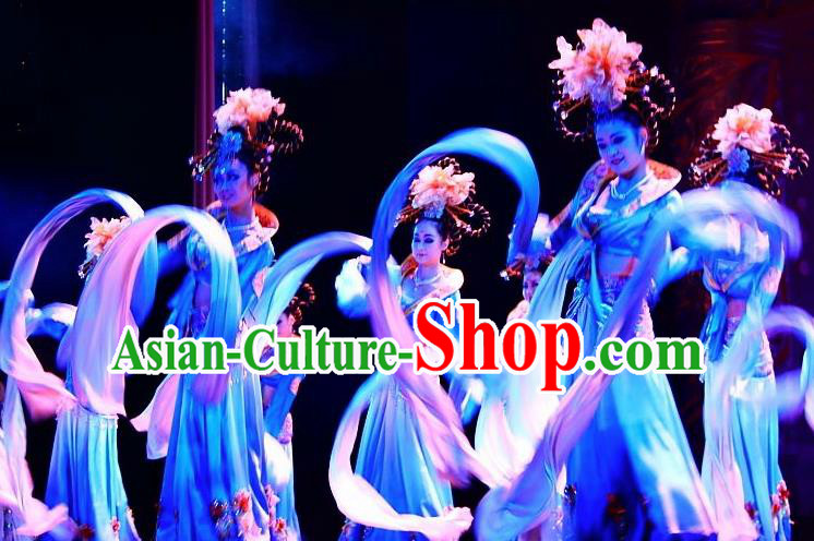 Traditional Chinese Classical Dance Bai Zhu Wu Costume Tang Dynasty Water Sleeve Dance Dress for Women