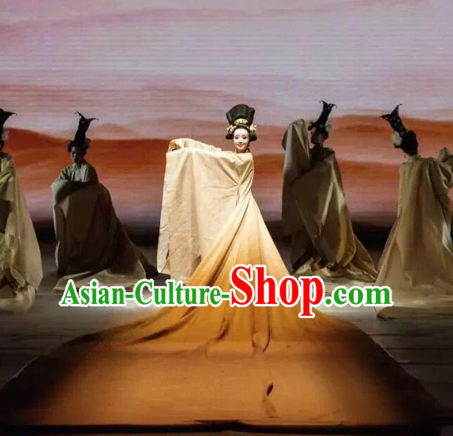 Traditional Chinese Classical Dance Du Fu Li Ren Xing Costume Tang Dynasty Court Stage Show Beautiful Dance Dress for Women