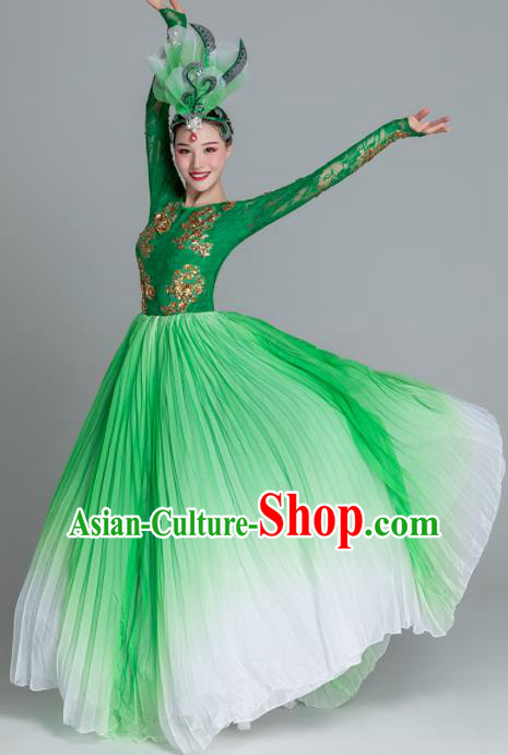 Traditional Chinese Classical Dance Green Dress Stage Show Opening Dance Costume for Women