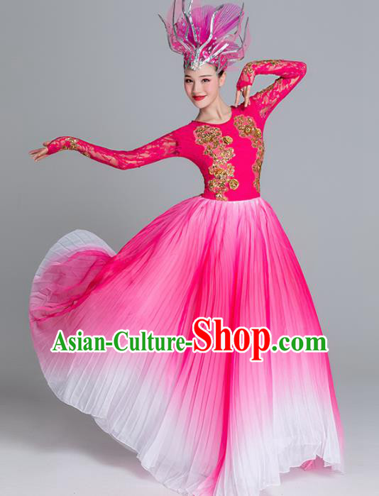 Traditional Chinese Classical Dance Rosy Dress Stage Show Opening Dance Costume for Women