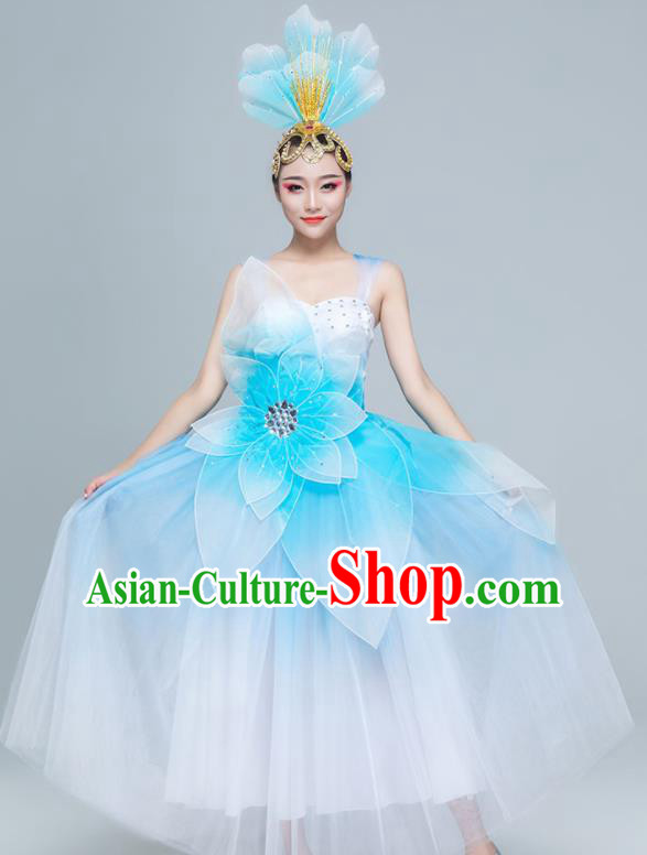 Traditional Chinese Spring Festival Gala Opening Dance Blue Dress Stage Show Chorus Costume for Women