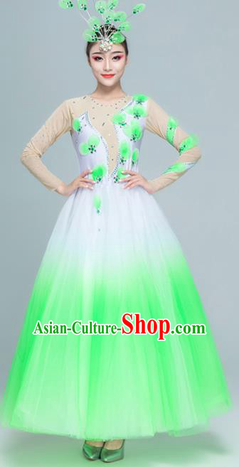 Traditional Chinese Spring Festival Gala Modern Dance Green Dress Stage Show Chorus Opening Dance Costume for Women