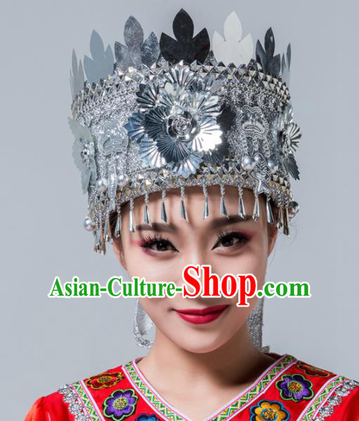 Traditional Chinese Miao Nationality Hat Ethnic Folk Dance Headwear for Women