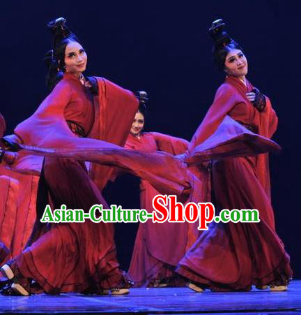 Chinese Beautiful Dance Xiang Ji Wu Costume Traditional Water Sleeve Dance Classical Dance Competition Dress for Women