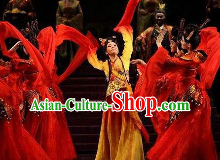 Chinese Beautiful Dance Xi Shi Water Sleeve Costume Traditional Umbrella Dance Classical Dance Competition Dress for Women