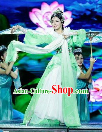 Chinese Beautiful Dance Four Beauties Xi Shi Costume Traditional Umbrella Dance Classical Dance Competition Dress for Women