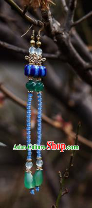 Chinese Ancient Princess Ear Accessories Traditional Hanfu Blue Beads Tassel Earrings for Women